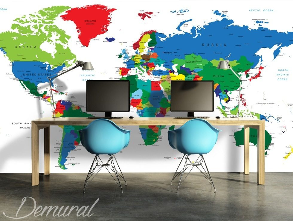 Marketing and world management World Maps wallpaper mural Photo wallpapers Demural