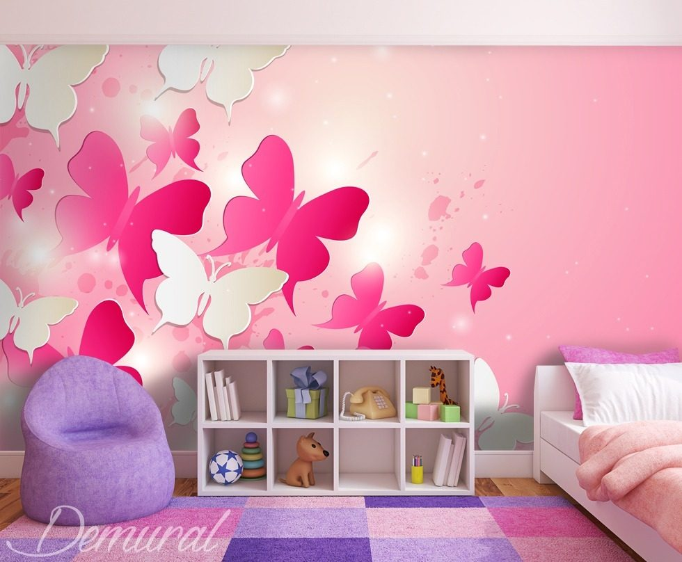 In a pink kingdom Child's room wallpaper mural Photo wallpapers Demural
