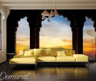 a window on the exoticism sunsets wallpaper mural photo wallpapers demural