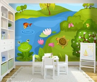 kiss a frog childs room wallpaper mural photo wallpapers demural
