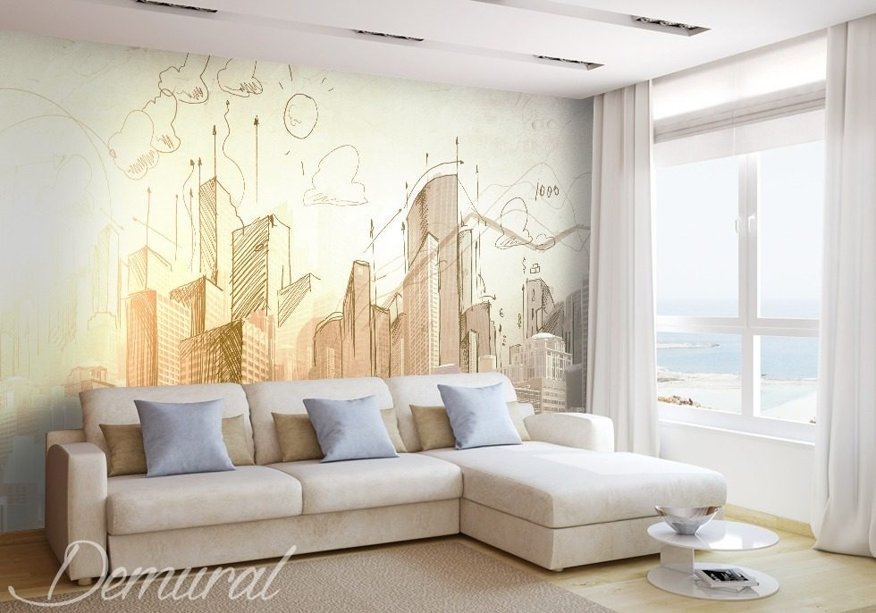 Architect's notebook Architecture wallpaper mural Photo wallpapers Demural