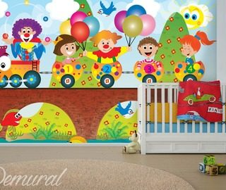 lets count carriages childs room wallpaper mural photo wallpapers demural