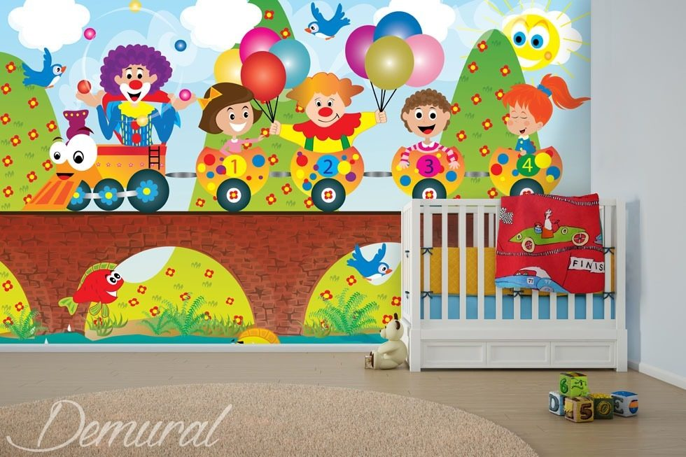 Let's count carriages Child's room wallpaper mural Photo wallpapers Demural