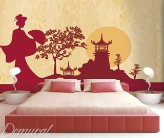 geisha on her way to the temple oriental wallpaper mural photo wallpapers demural