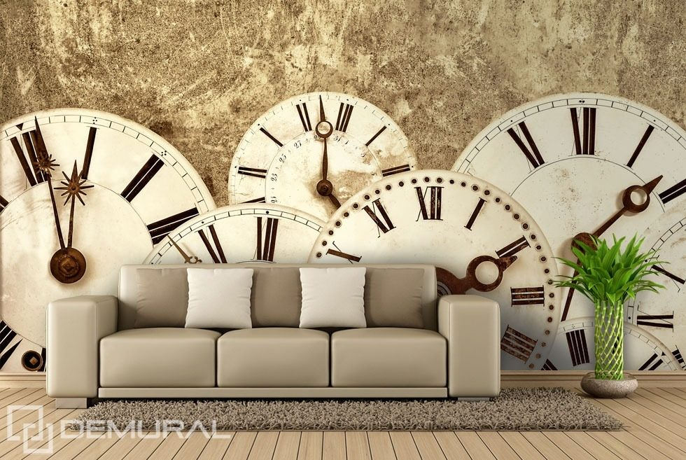 It tells the time Sepia wallpaper mural Photo wallpapers Demural