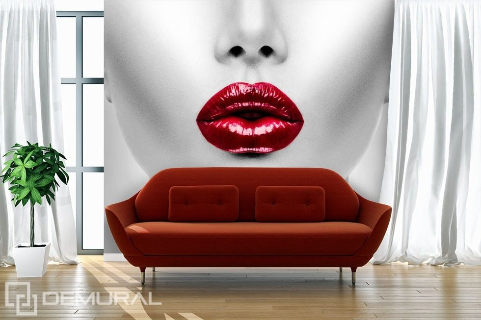 Red lips Living room wallpaper mural Photo wallpapers Demural