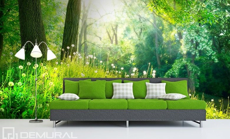 in green woods forest wallpaper mural photo wallpapers demural