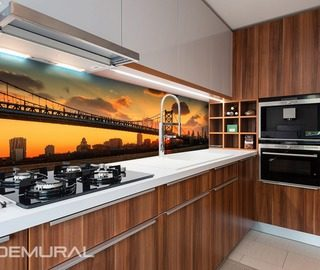 bridge with orange sky background kitchen wallpaper mural photo wallpapers demural