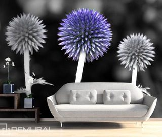 blooming chives flowers wallpaper mural photo wallpapers demural