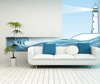 the light of the lighthouse nautical style wallpaper mural photo wallpapers demural
