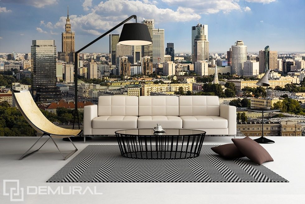 A flight over sunny Warsaw Cities wallpaper mural Photo wallpapers Demural