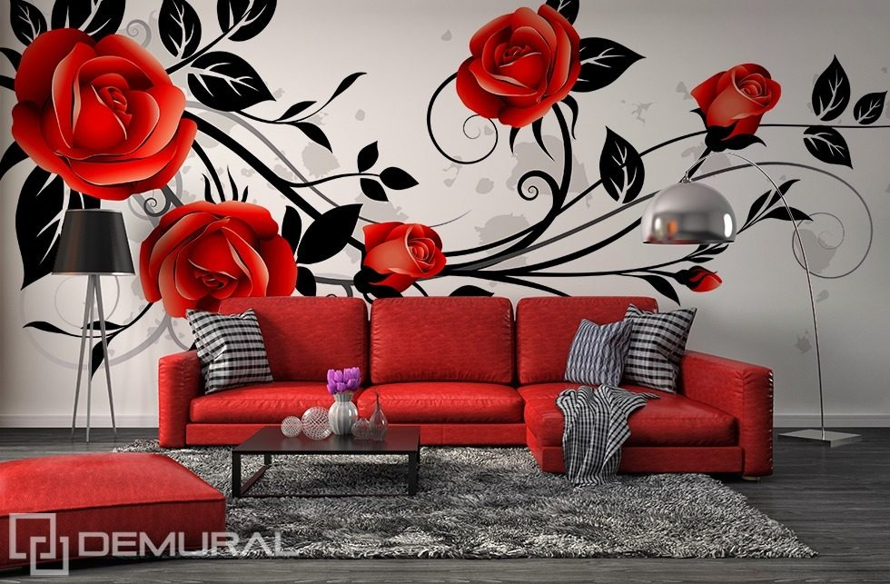 Curly rose Flowers wallpaper mural Photo wallpapers Demural