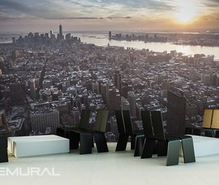 sunrise above the city cafe wallpaper mural photo wallpapers demural