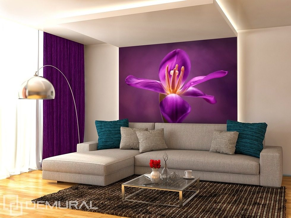 Floral purple Flowers wallpaper mural Photo wallpapers Demural