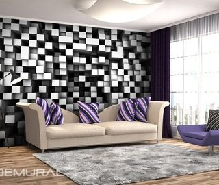 cubes in black and white three dimensional wallpaper mural photo wallpapers demural