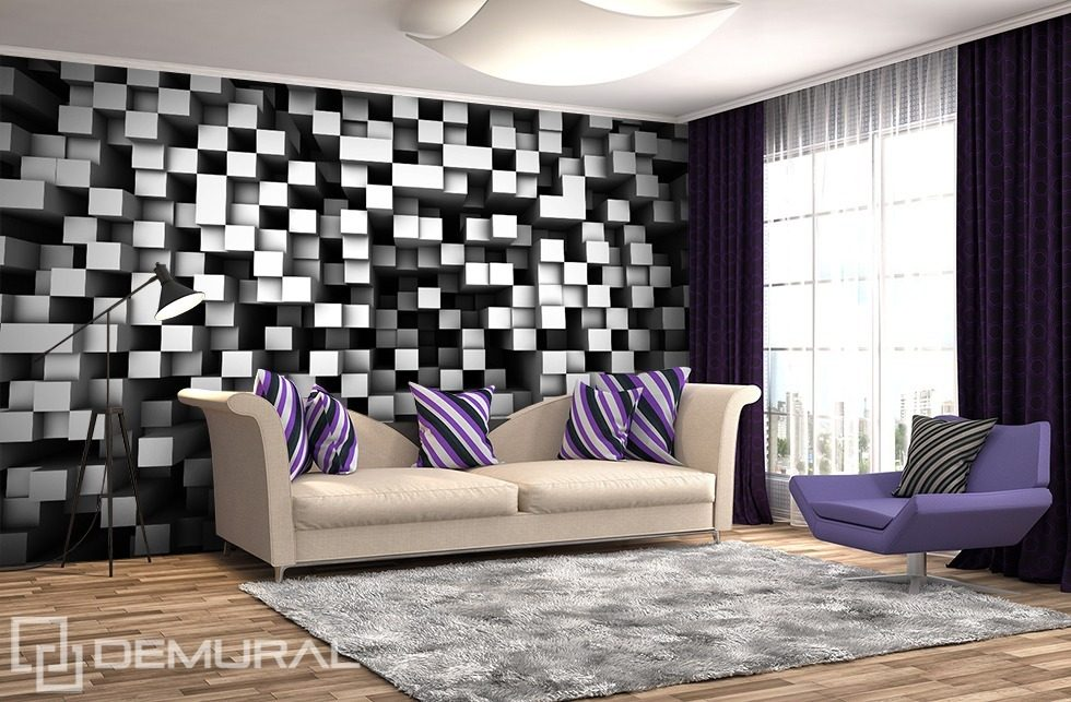 Cubes in black and white Three-dimensional wallpaper, mural Photo wallpapers Demural