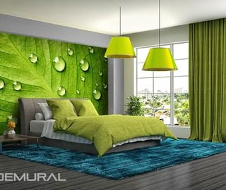 i feel the green walls with leafs bedroom wallpaper mural photo wallpapers demural