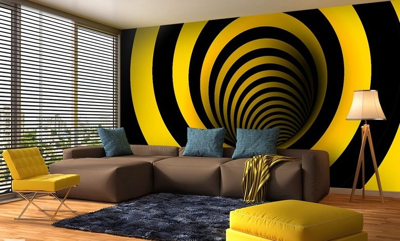 curved in yellow and black optically magnifying wallpaper mural photo wallpapers demural