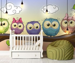 owl watch horned owl for good night childs room wallpaper mural photo wallpapers demural