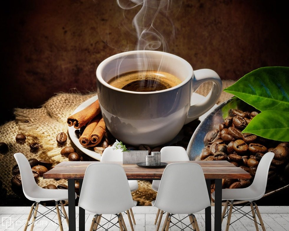 Steamy desire Coffee wallpaper mural Photo wallpapers Demural