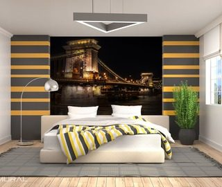 on the shores of an unknown city bridges wallpaper mural photo wallpapers demural
