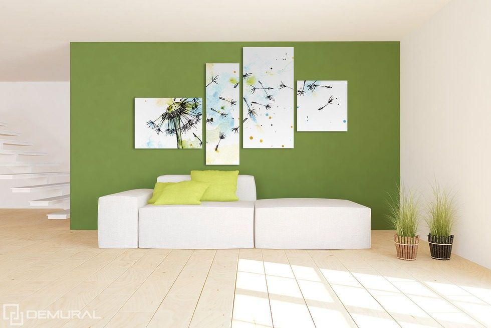 Connected by the power of wind - Dandelions Canvas prints in living room Canvas prints Demural