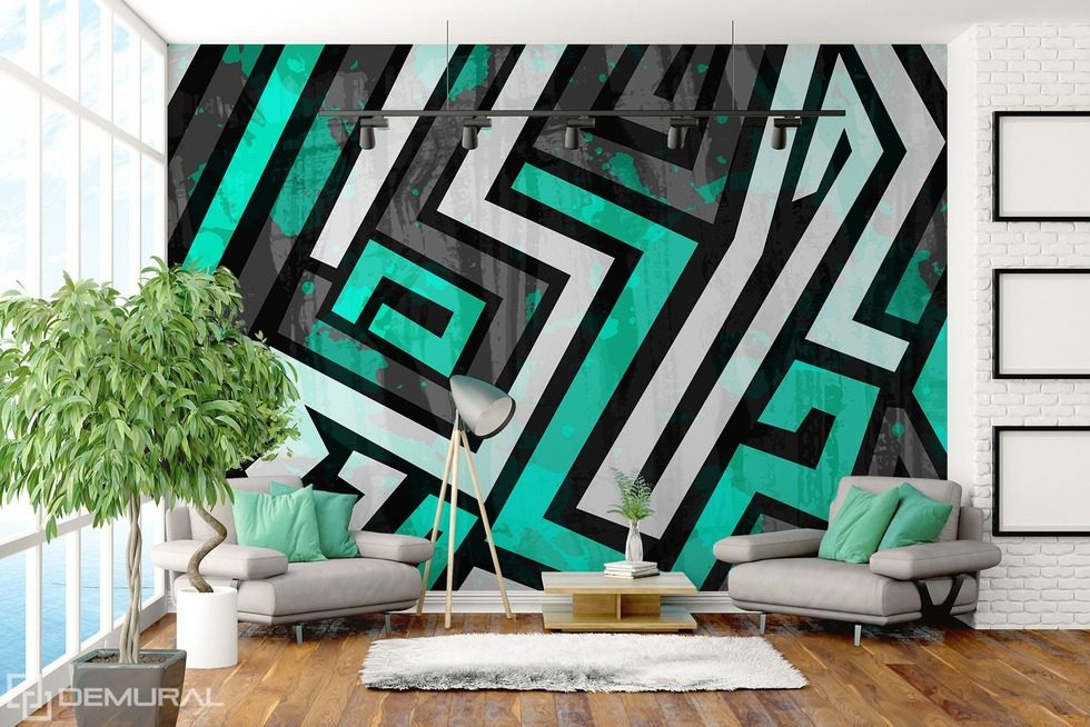 The geometric zigzag Graffiti wallpaper mural Photo wallpapers Demural