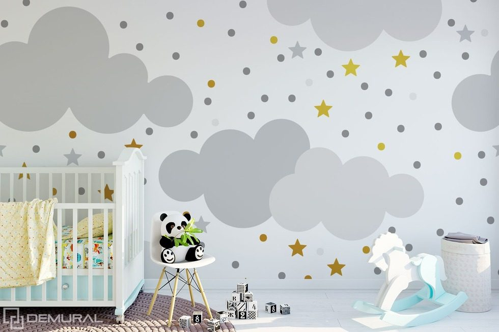 Swinging in the childish clouds Child's room wallpaper mural Photo wallpapers Demural