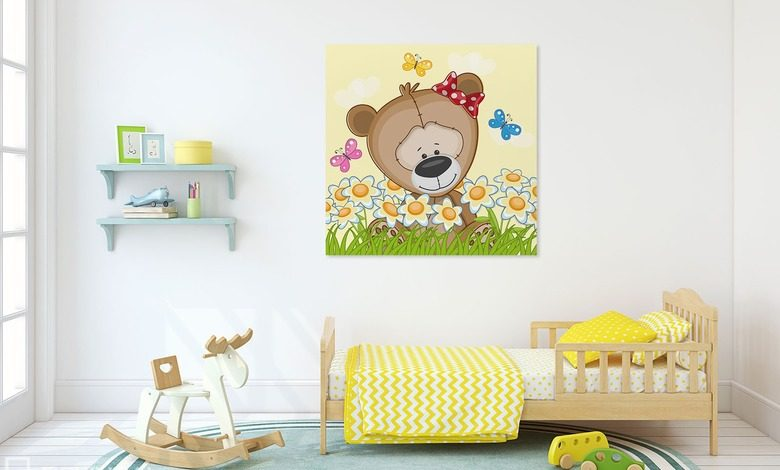 spring wanderings of a little bear canvas prints in childs room canvas prints demural