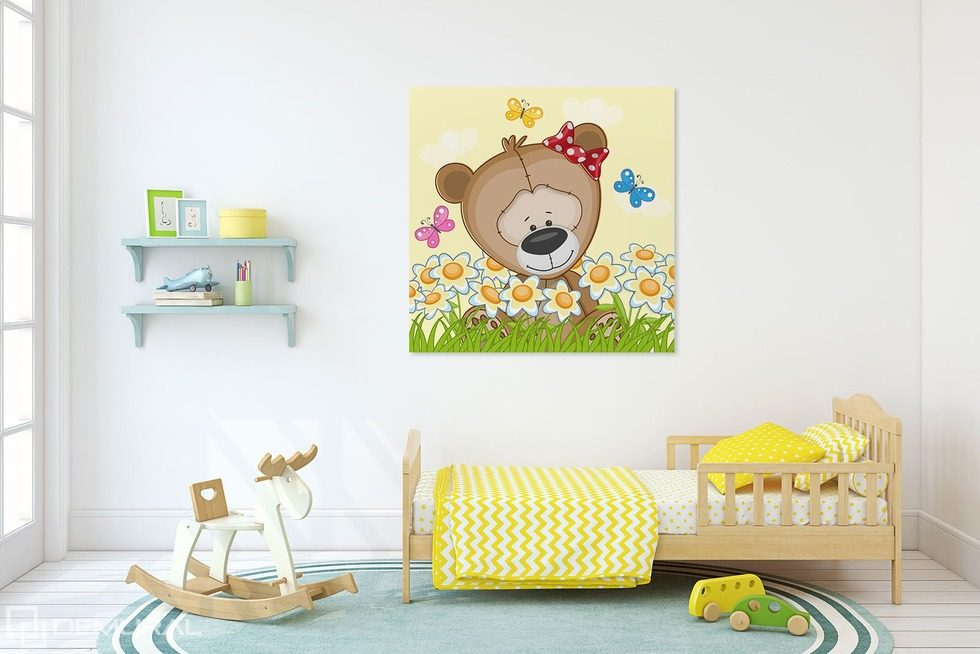Spring wanderings of a little bear Canvas prints in child's room Canvas prints Demural
