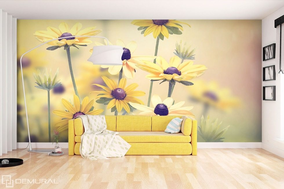 A smile yellow as the sun Flowers wallpaper mural Photo wallpapers Demural