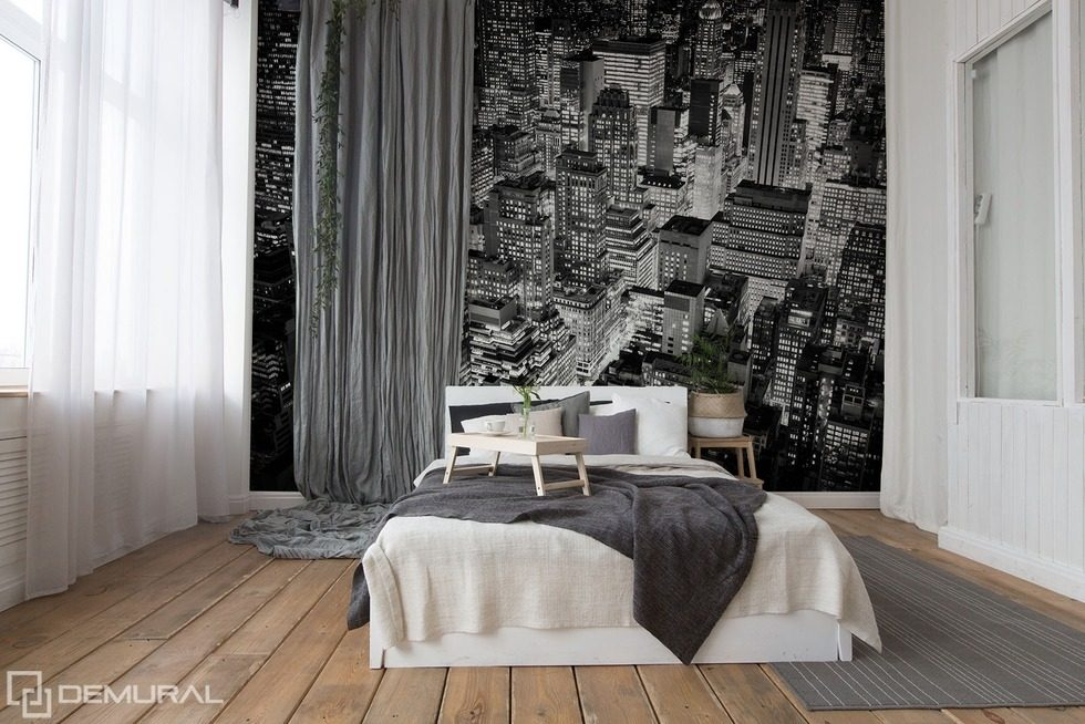 In the monochromatic cities Black and white wallpaper, mural Photo wallpapers Demural