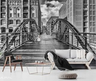 urban footbridge architecture wallpaper mural photo wallpapers demural