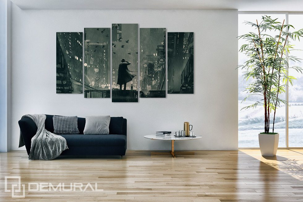 A gloomy view of the city surrounded by white Canvas prints People Canvas prints Demural