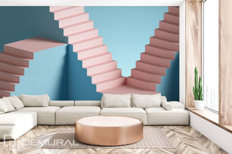 Sweet three-dimensional staircase Three-dimensional wallpaper, mural Photo wallpapers Demural