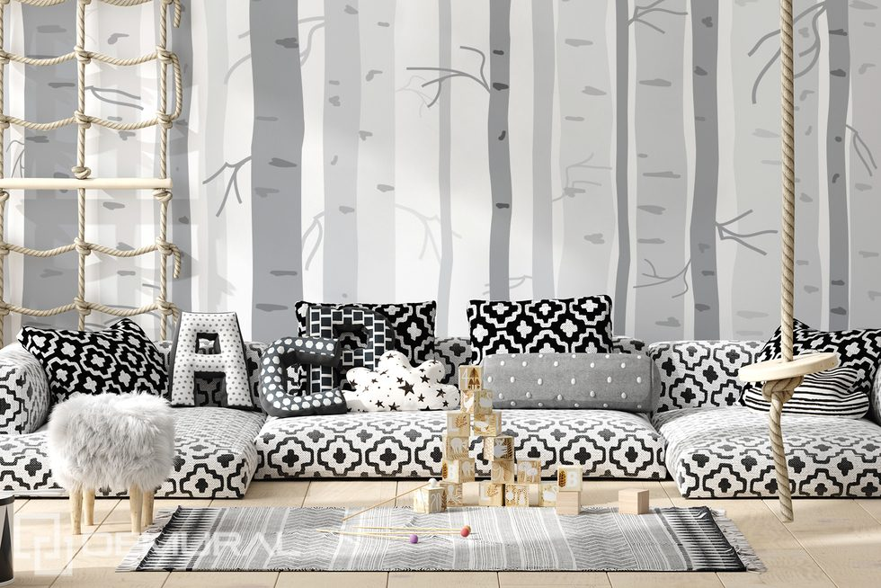 White fog in the grey forest Child's room wallpaper mural Photo wallpapers Demural