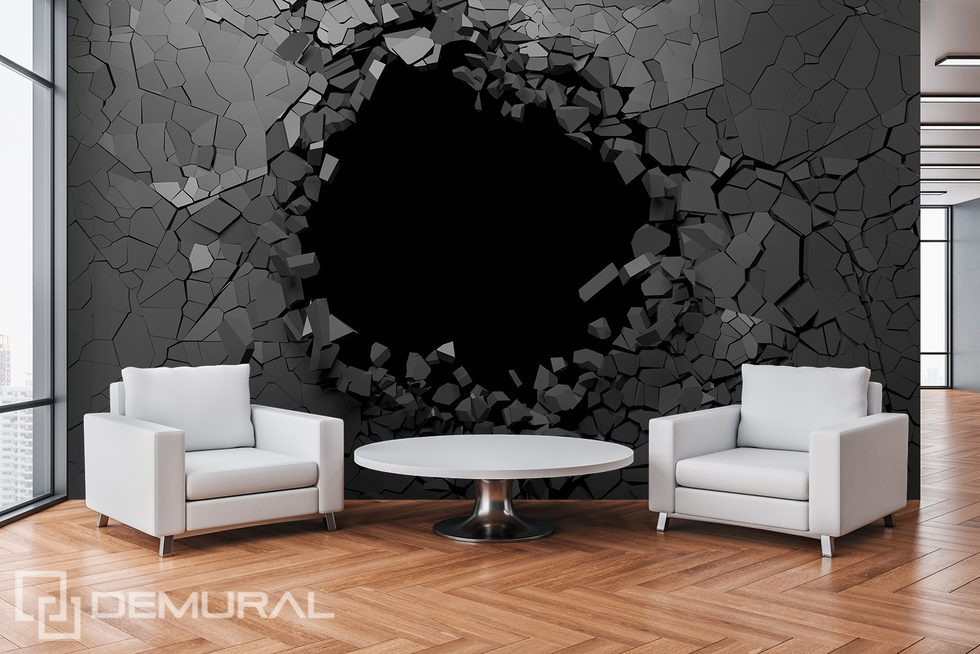 An engaging hole in the wall Three-dimensional wallpaper, mural Photo wallpapers Demural