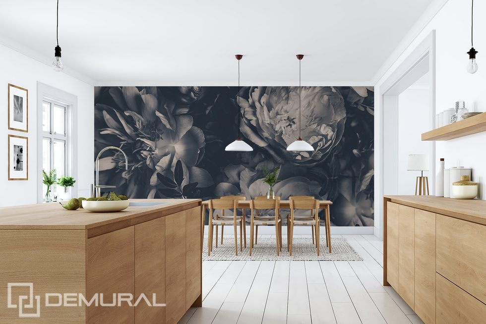 The charm of monochromatic flowers Flowers wallpaper mural Photo wallpapers Demural