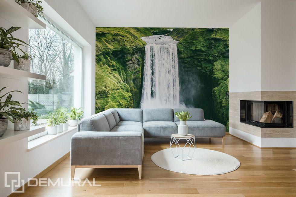 Under a refreshing waterfall  Landscapes wallpaper mural Photo wallpapers Demural